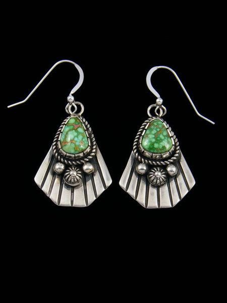 Navajo Sonoran Gold Turquoise Sterling Silver Dangle Earrings
