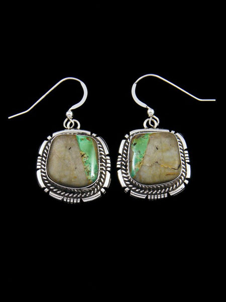 Navajo Royston Turquoise Sterling Silver Dangle Earrings