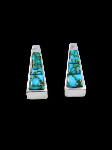 Cobblestone Kingman Redweb Turquoise Inlay Half Hoop Post Earrings