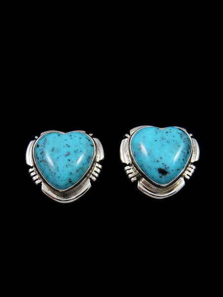 Navajo Sterling Silver Turquoise Heart Post Earrings