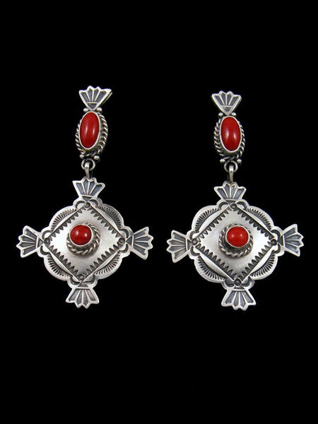 Navajo Sterling Silver Coral Post Earrings