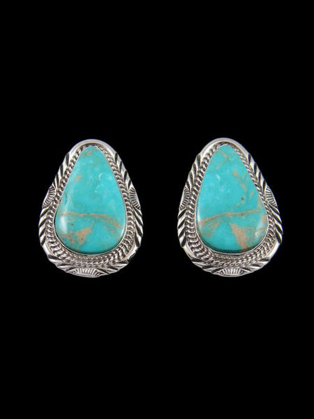 Navajo Kingman Turquoise Sterling Silver Post Earrings