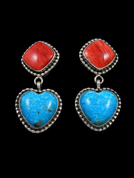 Navajo Turquoise and Spiny Oyster Sterling Silver Heart Earrings