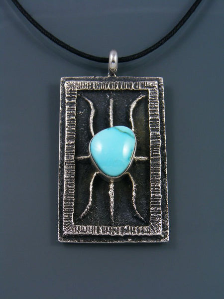 Natural Blue Moon Sterling Silver Sandcast Pendant