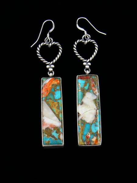 Navajo Turquoise and Spiny Oyster Sterling Silver Dangle Earrings