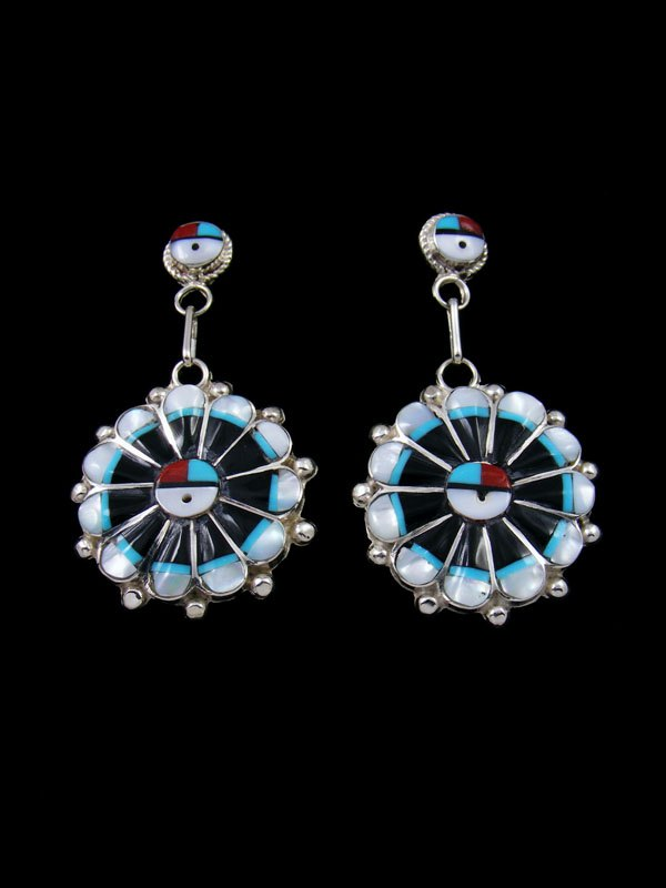 Turquoise and Onyx Zuni Inlay Sunface Post Earrings