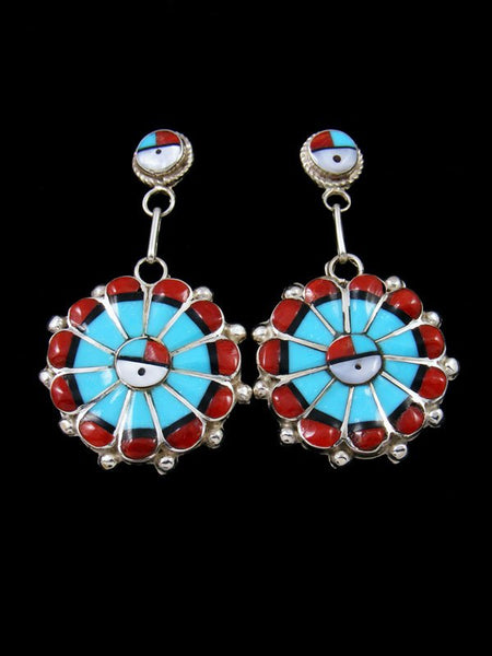 Turquoise and Coral Zuni Inlay Sunface Post Earrings