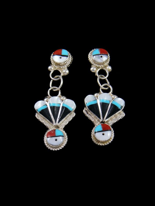 Mother of Pearl Zuni Inlay Sunface Post Earrings