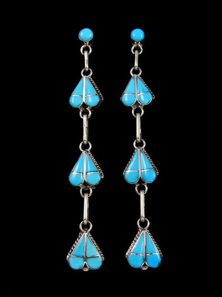 Native American Zuni Inlay Turquoise Heart Post Earrings