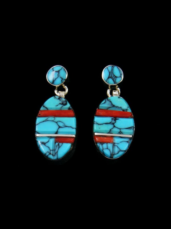 Native American Sterling Silver Turquoise and Coral Inlay Earrings