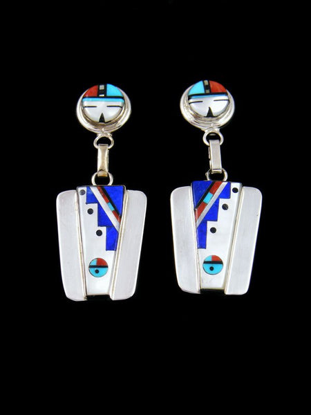 Sterling Silver Mother of Pearl Zuni Inlay Sunface Post Earrings