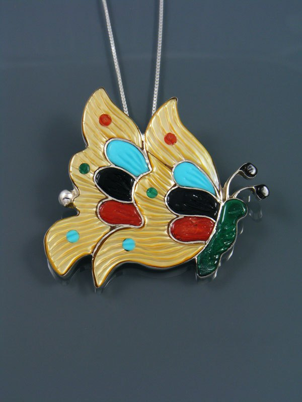 Native American Zuni Inlay Butterfly Pin Pendant