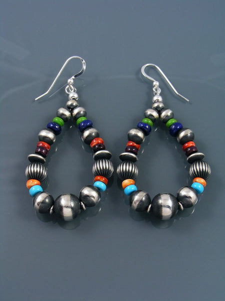 Multistone Sterling Silver Beaded Dangle Earrings