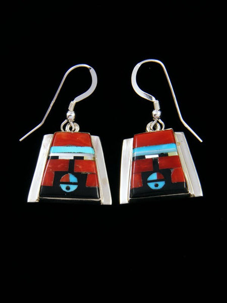 Sterling Silver Zuni Inlay Sunface Dangle Earrings