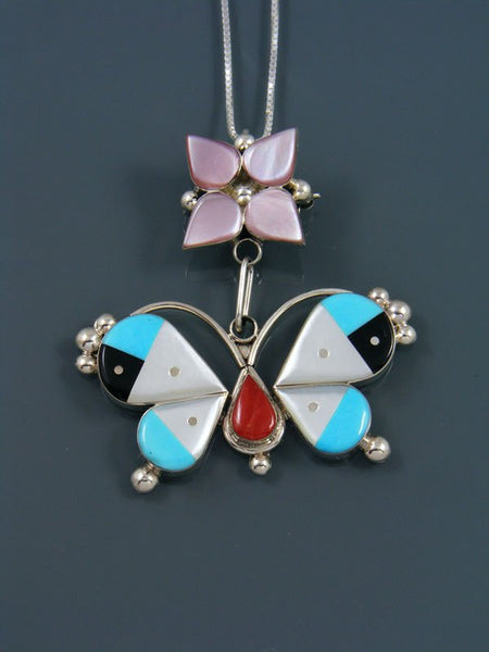 Sterling Silver Native American Zuni Inlay Butterfly Pin Pendant
