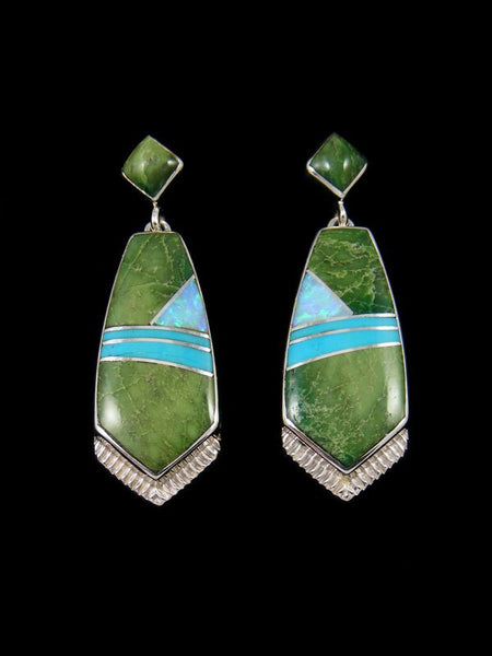 Navajo Green Jade and Turquoise Inlay Earrings