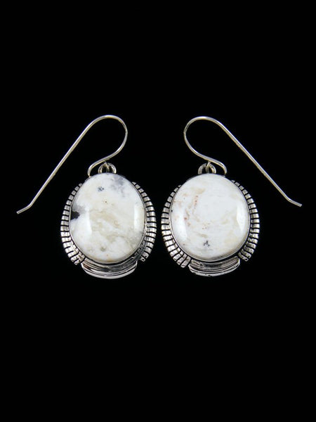 Native American Sterling White Buffalo Dangle Earrings