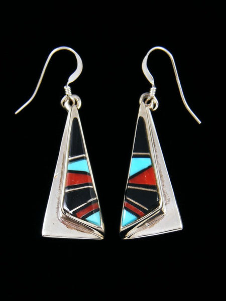 Navajo Onyx Turquoise and Coral Inlay Dangle Earrings