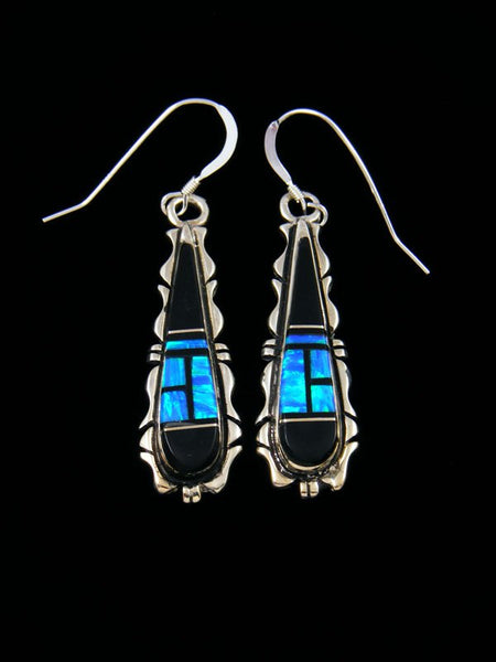 Navajo Onyx and Opalite Inlay Dangle Earrings