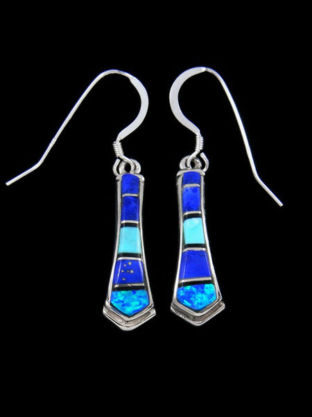 Navajo Lapis and Turquoise Inlay Dangle Earrings
