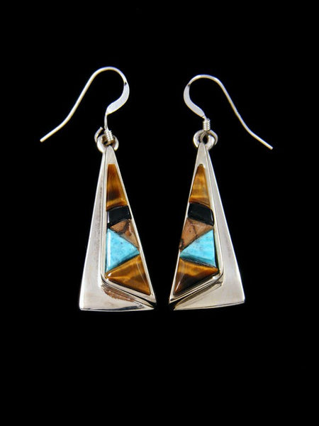 Turquoise and Tiger Eye Navajo Inlay Dangle Earrings