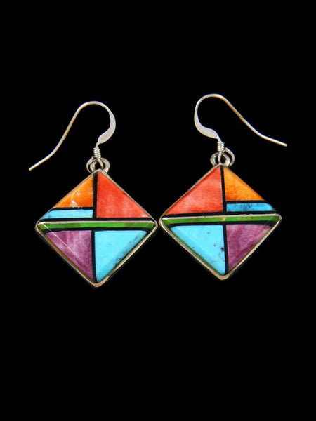 Navajo Inlay Turquoise and Spiny Oyster Dangle Earrings