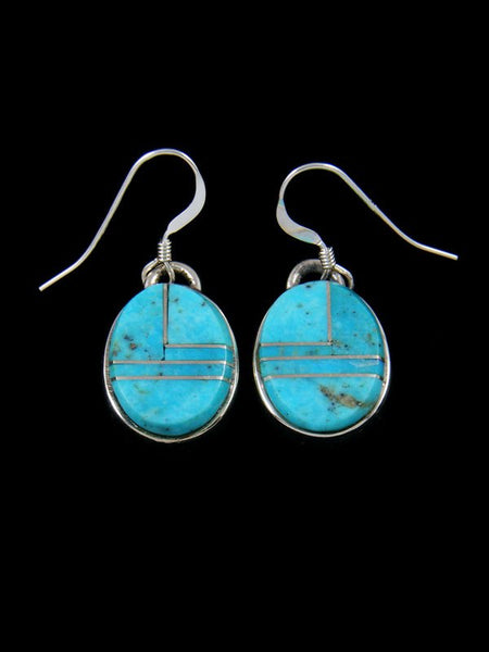 Native American Jewelry Turquoise Inlay Dangle Earrings