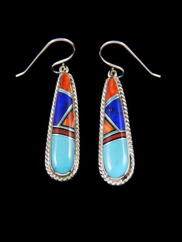 Native American Turquoise and Spiny Oyster Inlay Dangle Earrings