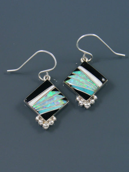 Onyx and Opalite Navajo Inlay Dangle Earrings