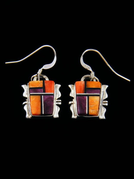 Navajo Inlay Spiny Oyster Dangle Earrings