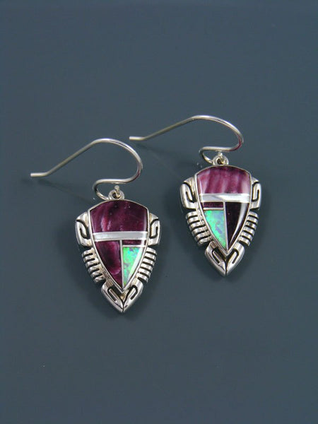 Navajo Inlay Spiny Oyster and Opalite Dangle Earrings