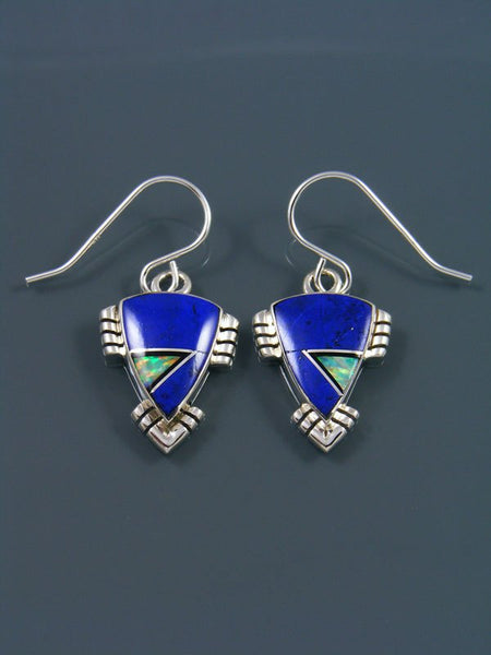 Navajo Inlay Lapis and Opalite Dangle Earrings