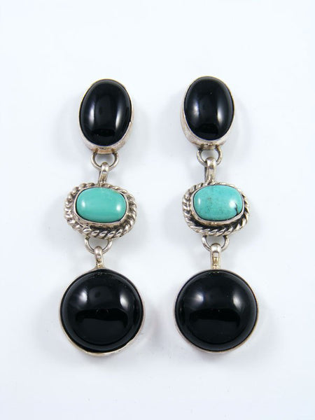 Navajo Onyx and Turquoise Sterling Silver Post Earrings