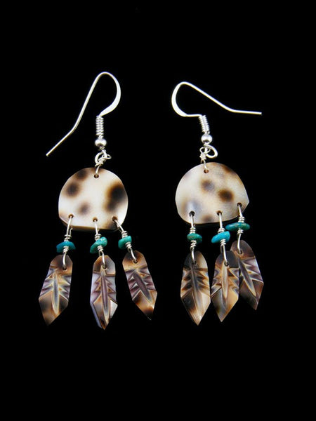 Sterling Silver Shell and Turquoise Dreamcatcher Earrings