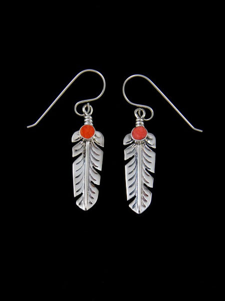 Navajo Feather Dangle Spiny Oyster Earrings