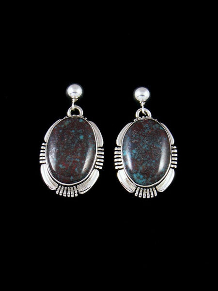 Navajo Egyptian Prince Turquoise Sterling Silver Post Earrings