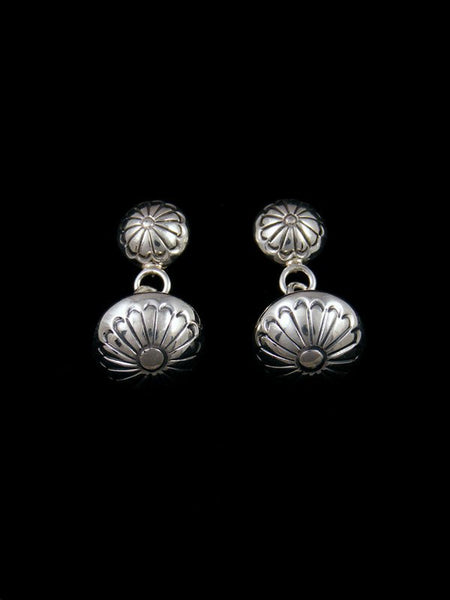 Navajo Sterling Silver Stamped Post Disc Earrings