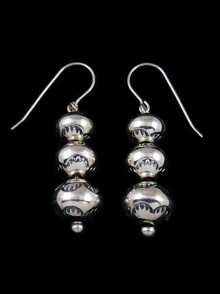 Navajo Sterling Silver Stamped Dangle Disc Earrings
