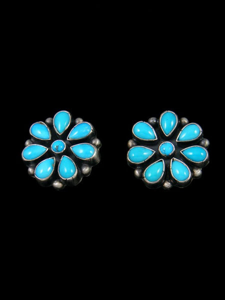 Navajo Sleeping Beauty Turquoise Sterling Silver Post Earrings