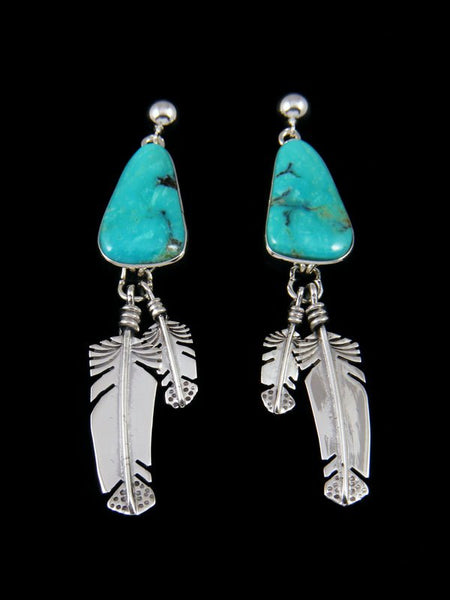 Native American Sterling Silver Kingman Turquoise Post Earrings