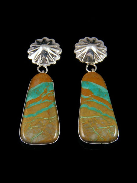 Navajo Boulder Turquoise Sterling Silver Post Earrings