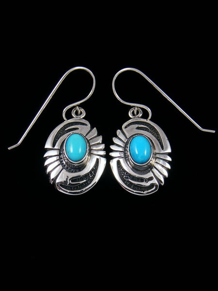 Sterling Silver Navajo Overlay Turquoise Dangle Earrings