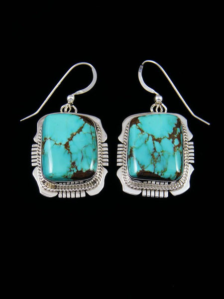 Navajo #8 Turquoise Sterling Silver Dangle Earrings