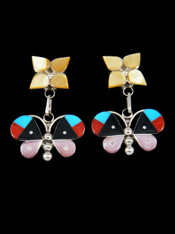 Mother of Pearl Zuni Butterfly Post Earrings