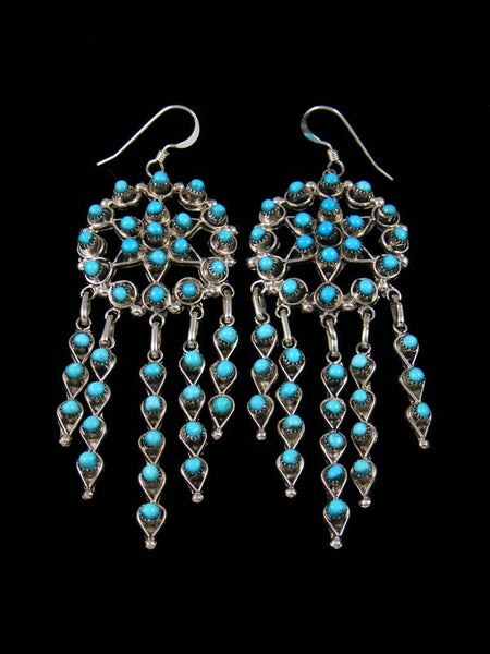 Native American Indian Jewelry Turquoise Zuni Dangle Earrings