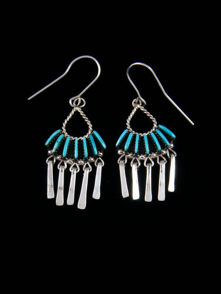 Native American Zuni Jewelry Turquoise Dangle Earrings