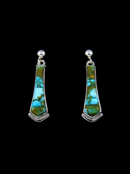 Cobblestone Kingman Redweb Turquoise Inlay Dangle Earrings