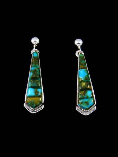 Cobblestone Kingman Redweb Turquoise Inlay Post Earrings