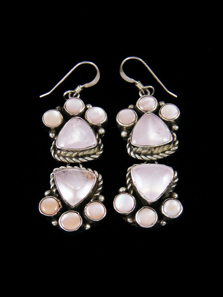 Navajo Pink Shell Sterling Silver Dangle Earrings
