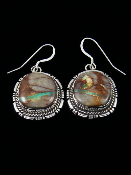 Navajo Royston Ribbon Turquoise Sterling Silver Dangle Earrings